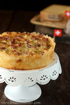 Cabbage and bacon quiche crust of rice and Gruyère Bara Brith, Bacon Quiche, Cabbage And Bacon, Spanish Cuisine, Egg Dish, Pie Recipes, Pancetta, Finger Foods, Vanilla Cake