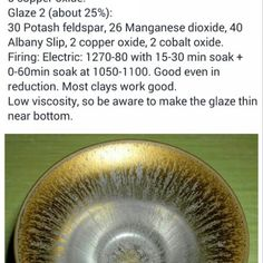 Category: Glaze, Crystalline, Manganese, Author: Ken Potter, Notes: From the Internet. The example pictured was fired to about cone 8 in oxidation and was layered with two glazes. See my variation for how just Glaze 1 comes out in cone 10 reduction. Ceramic Pottery, Ceramic Art, Galloway, Ceramic Glaze Recipes, Toms, Pottery Techniques, Iron Oxide, Base Foods, Stoneware
