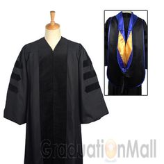 Deluxe Doctoral Graduation Gown Hood Package - PhD Blue trim ...