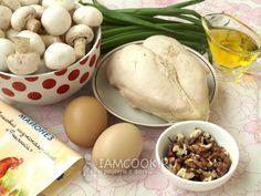 Ингредиенты для салата «Сказка» с курицей и грибами