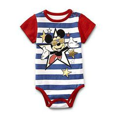 Disney Baby- -Mickey Mouse Newborn & Infant Boy's Bodysuit - Striped