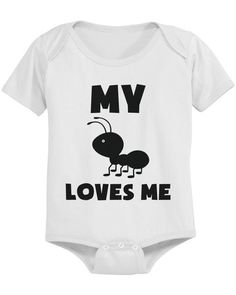 My ant (aunt) loves me funny baby onesie or tee is a unique white onesie made from 100% ring-spun cotton baby rib. White baby suit is not only high quality but