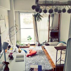 pojjm5さんの、部屋全体,観葉植物,IKEA,クッション,100均,ワンルーム,DIY,一人暮らし,6畳,フェイクグリーン,植物のある暮らし,のお部屋写真