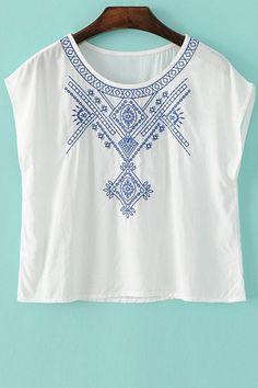 Embroidered Jewel Neck Sleeveless T-Shirt