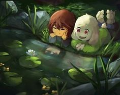 Frisk_Asriel/* I think I just saw a little fishy, it was so tiny! How can they be that small? // save me I'm so tired I'm not even this tired any other night • • art creds - caribun.tumblr.com • •