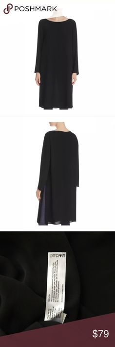 Eileen Fisher boat neck 100% silk tunic petite M Eileen Fisher Petites Boat Neck Silk Tunic Womens Medium Black New No original EF tag, only store tag Sleek, silky and sophisticated, this lightweight tunic from Eileen Fisher Petites is cut with hip-grazing side slits for ease of movement. Fits large, please consider ordering one size down for a slimmer fit Designed for an easy, classic fit Boat neck, long sleeves, high side slits Semi-sheer, pullover style 19 inch slits on the sides 19.5…