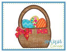 Easter Basket Ribbon Applique Design