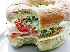 Turkey Bagel Sandwich with Avocado and Sprouts