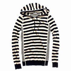 Madewell Striped Sweaterknit Hoodie in Silver Linen