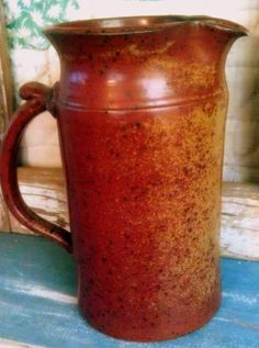 Vintage Pottery Pitcher: handmade, clay, speckled
