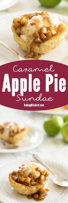 Apple pie in sundae form! Tart Granny Smith apples cooked with brown sugar and cinnamon and dowsed in caramel sauce. Served over vanilla ice cream in a flaky homemade (easy!) buttermilk pie crust shell. Recipe includes nutritional information. From http://BakingMischief.com