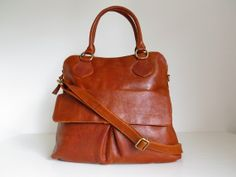 Leather Handbag Tote Bag Brown by TheLeatherStore on Etsy, $150.00