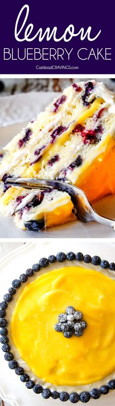 Fluffy, tender Lemon Blueberry Cake bursting with juicy blueberries and smothered in layers of luscious, tangy Lemon Curd and sweet and bright Lemon Cream Cheese Frosting (with step by step photos, tips and tricks)! This is a show stopping dessert for Easter and all your spring and summer parties! via @carlsbadcraving