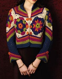 Crochet Sweater: Women's Sweaters - Crochet Sweaters - Beautiful colors http://crochet-sweaters.blogspot.be/2013/01/womens-crochet-vest-gorgeous-vest-using.html