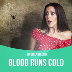 """Blood runs cold"" means ""to be very frightened"".  Example: My blood ran cold when I saw a poisonous spider on the wall."