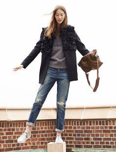 Whit® quilted coat worn with noir sweatshirt + Rivet & Thread rip and repair slim boyjean.