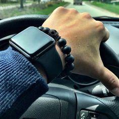 Black Onyx and Skull bracelet / Men's bracelet/ black
