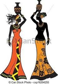 afrikanische frauen Vector - Beautiful African woman with vases, two versions American Art, African, African Women Art, Art Painting, Tribal Art, Female Art, Art, Africa Art