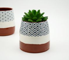 Patterned Pottery Planter  Succulent Planter  by susansimonini