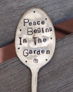 Peace Begins In The Garden hand stamped SPOON by VintageGardenArt, $12.99
