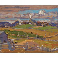 "Hilarion,"" A. Jackson, oil on panel, x private collection. Emily Carr, Canadian Painters, Canadian Artists, Group Of Seven Artists, Franklin Carmichael, Tom Thomson Paintings, Jackson, Church Pictures, Most Famous Artists"