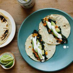 Green Tacos (Kale, Sweet Potato,  and Avocado!)