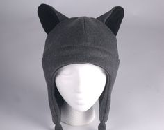 Fleece Wolf Hat - Gray Aviator Style Mens Womens Teen Wolf Hat by Ningen Headwear