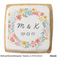 Bride and Groom Monogram - Custom Wedding Floral Square Shortbread Cookie