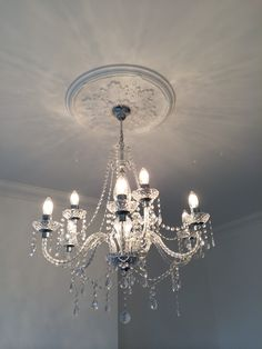 Victorian ceiling rose and chandelier - Best Gothic Fashion ideas Small Chandelier Bedroom, Entryway Chandelier, Chandelier Makeover, Bathroom Chandelier, Bathroom Ceiling Light, Art Deco Chandelier, Ceiling Decor, Glass Chandelier, Ceiling Design