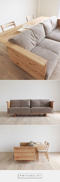 couch with bar attach behind it. so great for a man cave or basement family room.