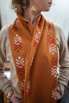Arrows Infinity Cowl  Butternut Orange with Rust & par TheFarWoods, $40.00