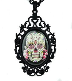 "- Sugar Skull with Black Gothic Frame Necklace - Dia De Los Muertos / Day of the Dead Style Pendant - Pendant is 3"" inches long by 1-3/4"" inches wide - Comes witha 24"" inches black chain - Adult Gothi"