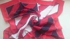 Pure Silk Square Scarf - Nautical Geometric Theme in Red Navy and White - Perfect Unused Vintage Stock from 1980s by JohnTjadenScarves on Etsy