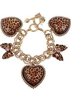 "LEOPARD HEART BOW CHARM BRACELET  I Love  ""Betsy Johnson"" fashion designs.."