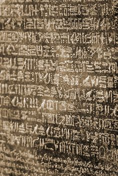 Close up of the Rosetta Stone, at the British Museum in London, England