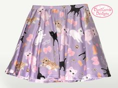 Chat kawaii jupe Fairy Kei chat jupe Pastel chat jupe chaton Kitty motif jupe patineuse jupe taille XS à travers 3XL * fait 2 commande *