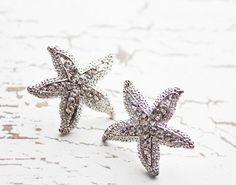 Starfish Earrings. Rhinestones. Beach Wedding. Destination Wedding. Bridesmaids Earrings. Sterling Silver Post Earrings.Whimsical.. $35.00, via Etsy.
