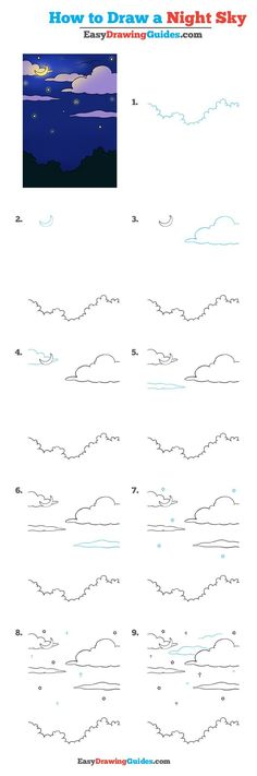 Learn How to Draw Night Sky: Easy Step-by-Step Drawing Tutorial for Kids and Beginners. #Night Sky #drawingtutorial #easydrawing See the full tutorial at https://easydrawingguides.com/how-to-draw-a-night-sky-really-easy-drawing-tutorial/.