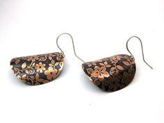 Turtle Shell Flowered Earrings by SnazzyTrinkets on Etsy, $30.00