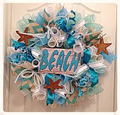 Hey, I found this really awesome Etsy listing at https://www.etsy.com/listing/226748045/beach-deco-mesh-wreathturquoise-mint-and