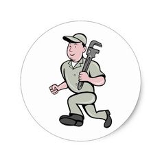Cartoon Plumber with monkey wrench running Classic Round Sticker. Classic round sticker with an illustration of a plumber running holding a monkey wrench done in cartoon style. #plumber #monkeywrench #sticker