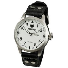 INFANTRY Military Mens Classic Easy Read Wrist Watch Black Leather Strap - $20