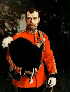 Valentin Serov - Portrait of Emperor Nicholas II in the Uniform of a Scots Dragoon Chief.