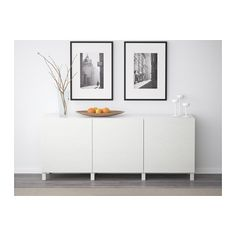 IKEA - BESTÅ Storage combination with doors white, Djupviken white Hacks Ikea, Soft Closing Hinges, Frame Shelf, Basement Furniture, Adjustable Shelving, Family Room, New Homes, Room Decor, Shelves