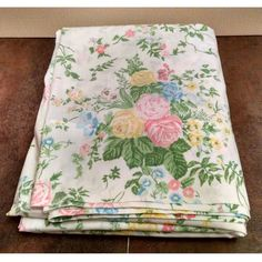 Lady Pepperell Twin Flat Sheet Vintage Floral Roses Pattern Shabby Cottage Chic #LadyPepperell #Cottage #shabbychic