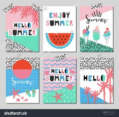 Vector set of bright summer cards. Beautiful summer posters with watermelon, ice cream, hello summer and hand written text. Journal cards.