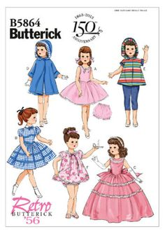 Butterick-5864-18-Doll-Clothes-Retro-56-Dress-Trousers-Sewing-Pattern-B5864