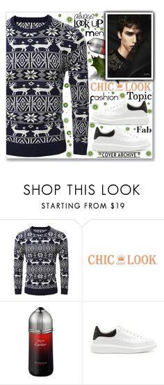 """""""Men Christmas T-shirt Style (Rosegal) -23-"""" by gheto-life ❤ liked on Polyvore featuring Cartier, Folio, Alexander McQueen, men's fashion, menswear, Christmas, perfect, holidaystyle, manFashion and rosegal"""
