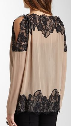 .Dainty.  .Hot with leather pants. Lace Sleeve Top / Gold Hawk