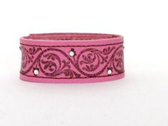NEW  Stamped Leather Cuff  Pink with by BlueberryBirdDesigns, $23.00